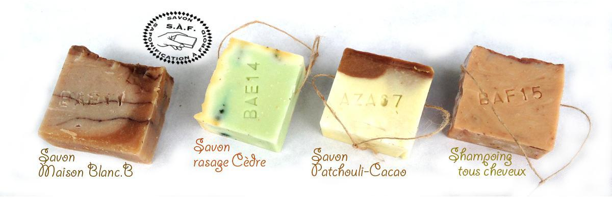 Savon Maison Blanc B, Savon rasage Cèdre, Savon Patchouli Cacao, Shampoing tous cheveux