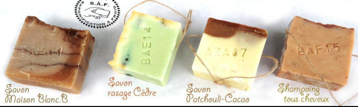 4 savons-ficelles, BAB11, BAE14,AZA07,BAF15 saponifiés à froid