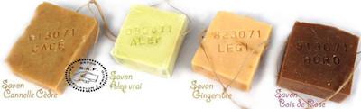 4 savons-ficelles, YLME, BAC12 au Sel, BAD13-BAH17 saponifiés à froid